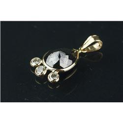 14K Gold Black/White Diamond Pendant CRV $2502