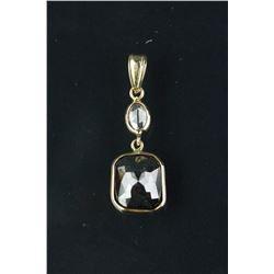 14K Gold Black/White Diamond Pendant CRV $3520