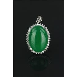 Fine Green Emerald Hardstone Pendant S925 Mark