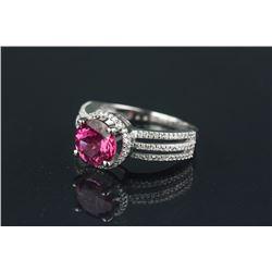 14K Gold Tourmaline Ring w/ Cut Diamonds CRV $3700