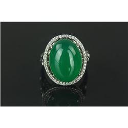Fine Emerald Green Hardstone Ring S925 Mark