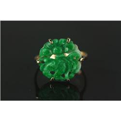 Chinese Green Jadeite Carved Ring 14K Mark