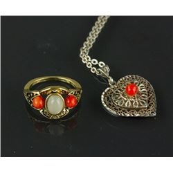 Chinese Silver Necklace and Coral Ring
