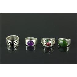 4 Pc Silver Rings Jade, Ruby, Claret, Amethyst