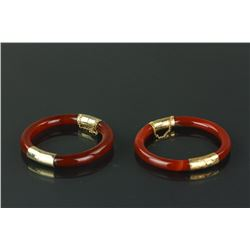 Pair Chinese Agate With Gilt Clasp Bangles