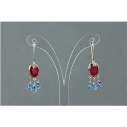 10/14K Gold Ruby & Blue Topaz Earrings CRV $2850