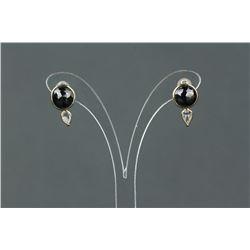 14K Gold Black/White Diamond Earrings CRV $7155