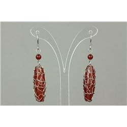 Chinese Red Agate Earrings