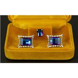 3 Pieces Set Gemstone Men's Cuff Links & Tie Clip