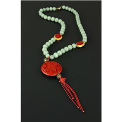 Green Hardstone With Red Lacquer Necklace