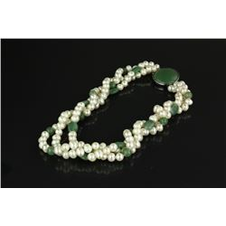 Chinese Pearl & Green Hardstone Necklace