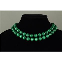 Chinese Malachite w/ 14K Clasp Necklace