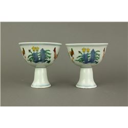 Pair Famille Rose Chicken Porcelain Stem Cups