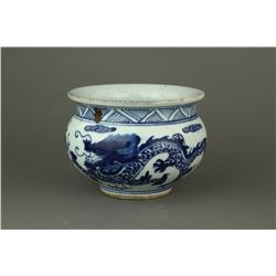 Chinese Blue & White Dragon Porcelain Bowl