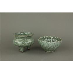 2 Pc Chinese Guan Type Porcelain Censer & Bowl