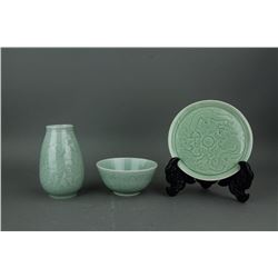 3 Pieces Chinese Longquan Style Porcelain Items