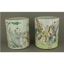 Pair Chinese 20th C. Porcelain Brushpots