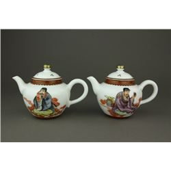 Pair Chinese Gilt Famille Rose Porcelain Teapots