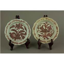 Pair Chinese Copper Red Yuan/Ming Porcelain Plates