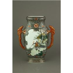 Chinese Famille Rose Porcelain Double-handled Vase