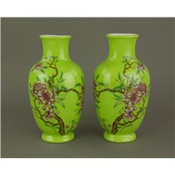 Pair Chinese Green Ground Porcelain Vases