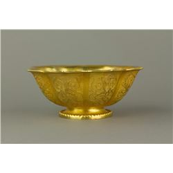 Gilt Bronze Lotus Porcelain Bowl Zhenguan Mark