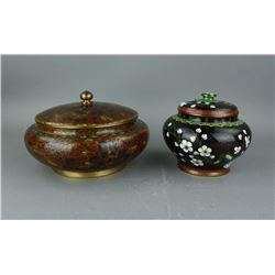 2 Pieces Chinese Cloisonne Jars w/Covers