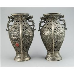 Antique Pair of Chinese Silver Vases w Stamp Seals