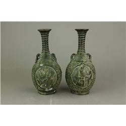 Two Pieces Bronze Metal Carved Vase Qianlong MK