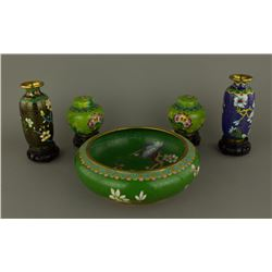 5 Pc Cloisonne Bowl & Small PaVase & Jars