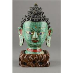 Tibet Bronze Cloisonne Mosaic Buddha Head