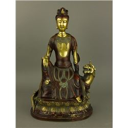 Ming 16/17th C. Bronze w/ Red Lacquer Figure