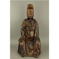 Ming Wenchang Bronze Figure w/ Lacquer & Vajra MK