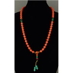 Chinese Coral, Amber & Turquoise Necklace