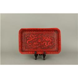 Chinese Cinnabar Lacquer Dragon Tray Ming MK