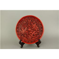 Chinese Cinnabar Lacquer Carved Tray