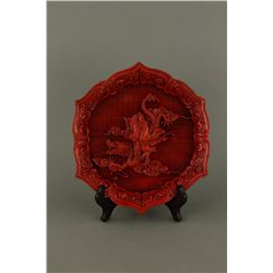 Cinnabar  Lacquer Carved Man With Dragon Tray