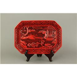 Chinese cinnabar Lacquer Dragon Carved Round Tray