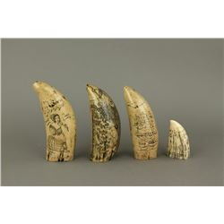 4 Pieces 1830-50's American Bone Carvings
