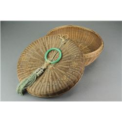 Chinese Bamboo Basket w Green Hardstone & Coin