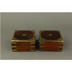Pair of Chinese Huanghuali Jewellery Boxes