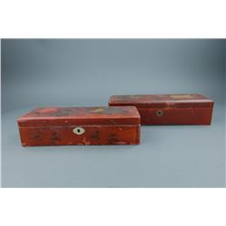 Pair of Japanese Lacquer Wood Boxes