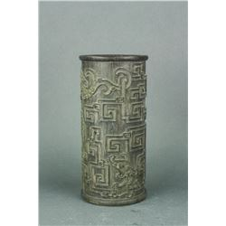 Chinese Old Bamboo Carved Pattern Brush Pot