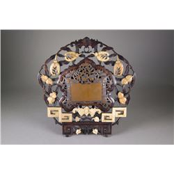 18th/19th C. Chinese Wood Screen Inset Hardstone