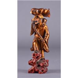 Chinese Qing Period Gilt Wood Figure of Immortal