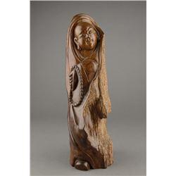 Chinese Huanghuali Wood Carved Buddha