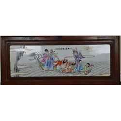 Chinese Watercolour Painting on Porcelain Plaque