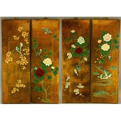 4 Pc Chinese Gold Lacquered Wooden Panels