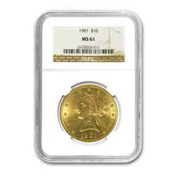 1901 $10 Liberty Gold Eagle NGC MS61