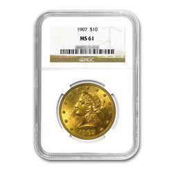 1907 $10 Liberty Gold Eagle NGC MS61